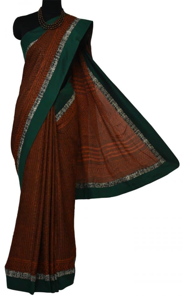 Rust orange dhabu printed semi crepe saree-9189