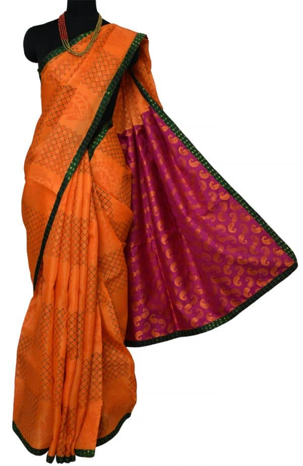 Orange organza saree with silk pallu-9244