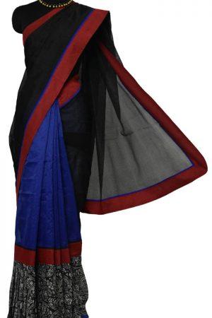 Black and blue frill saree-9254