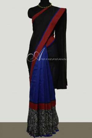 Black and blue frill saree-0