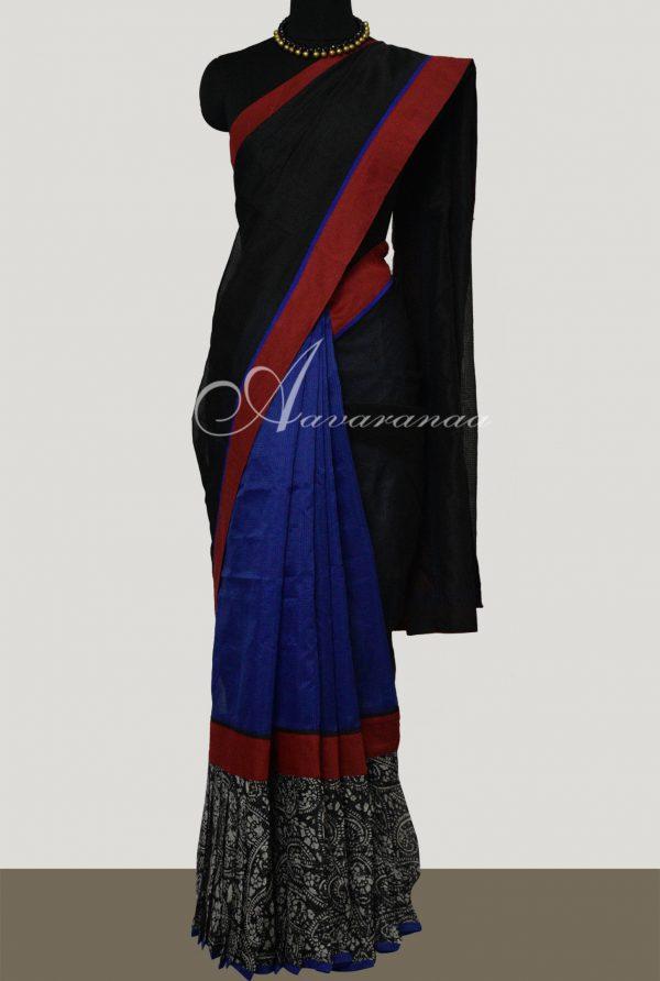 Black and blue frill saree-0