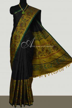 Black mustard long border silk saree -0