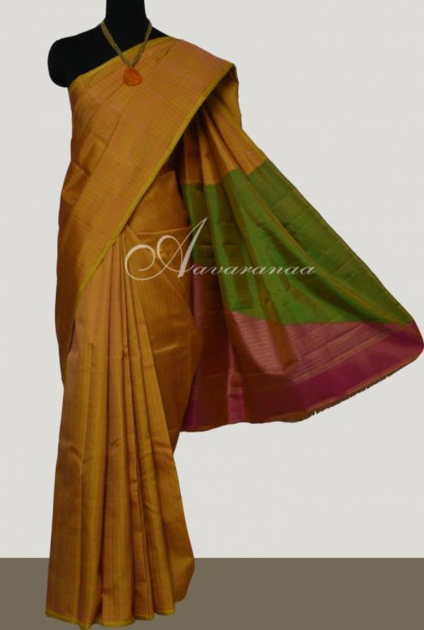 Mustard kanchi silk saree with 2 colour pallu-0