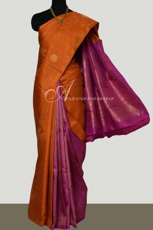 Orange pink partly pallu kancheepuram silk saree-0
