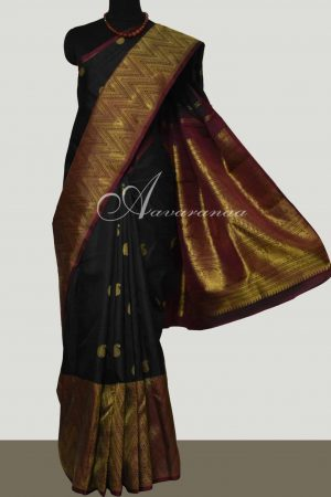 Black & Maroon kanchipuram silk saree-0