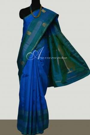 Blue kanchipuram silk saree with border-0