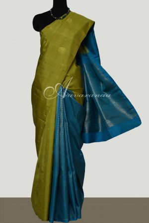 Green & Blue partly pallu kanchipuram silk saree-0