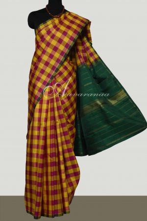 Majenta and mustard checked kanchipuram silk saree-0