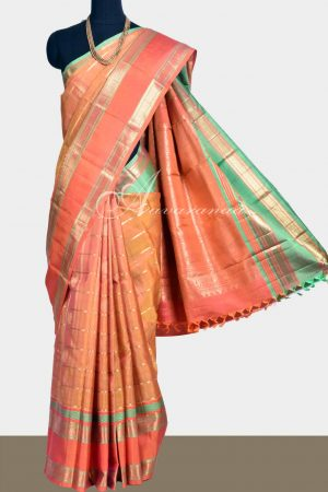 Mustard orange kanchi silk saree with peacock in checks-0