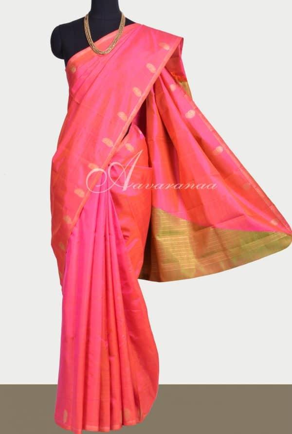 Peach and green kanchipuram silk saree-0