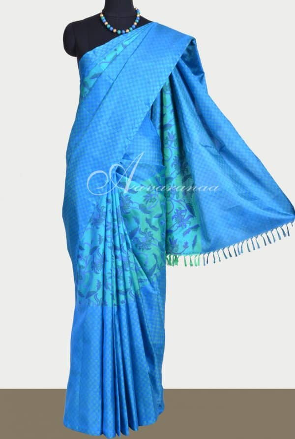 Teal blue kanchi matte long border printed saree-0