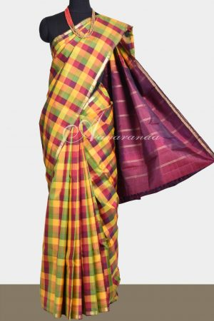 Multicolor checks kancheepuram saree-0