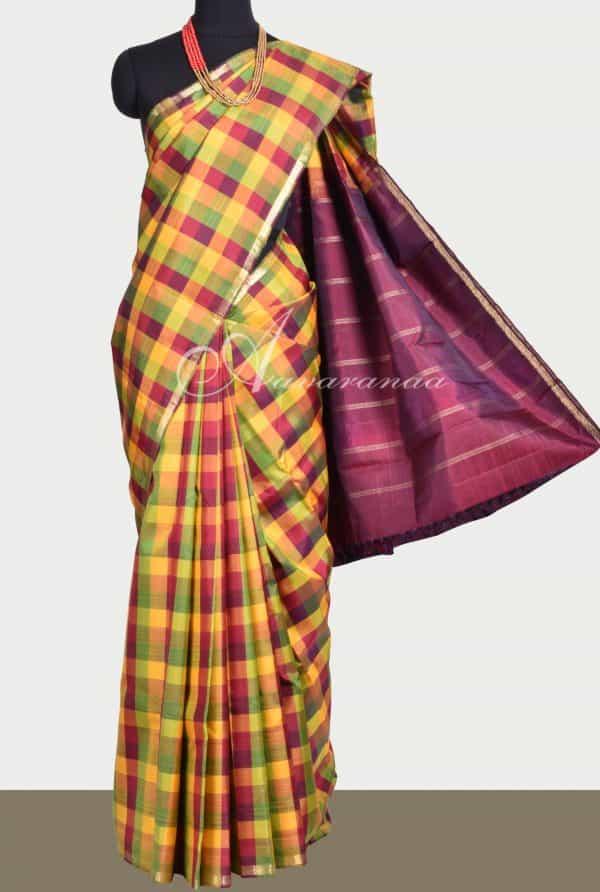 Multicolor checks kancheepuram saree-0