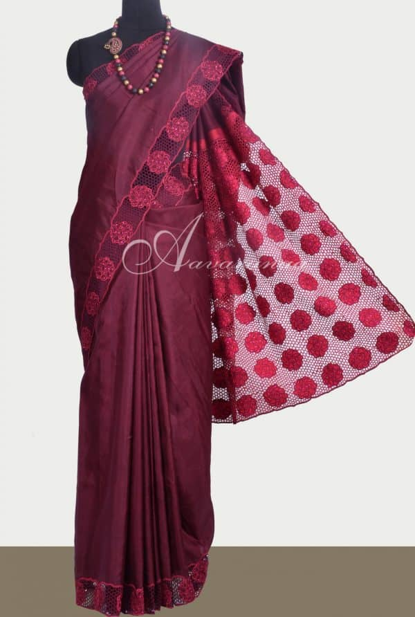 Maroon kanchipuram silk saree with cutwork -0