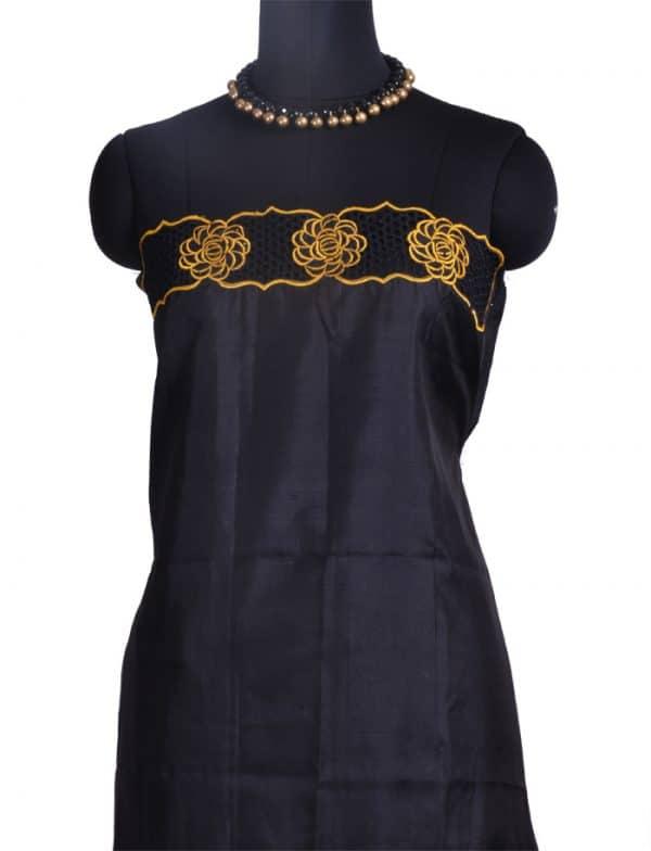 Mustard kanchipuram silk saree with cutwork -10042