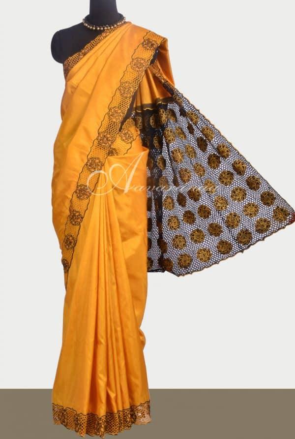 Mustard kanchipuram silk saree with cutwork -0