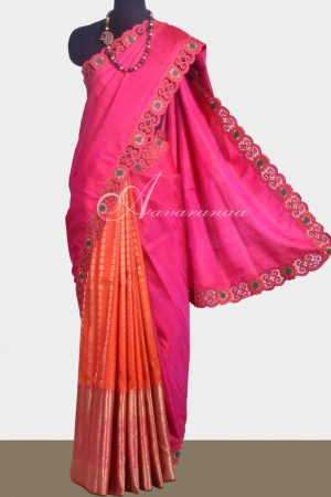 Pink & Orange kanchipuram silk saree with cutwork -0