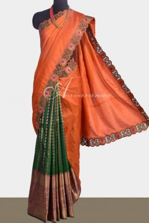 Burnt Orange and green kanchipuram silk saree with cutwork -0