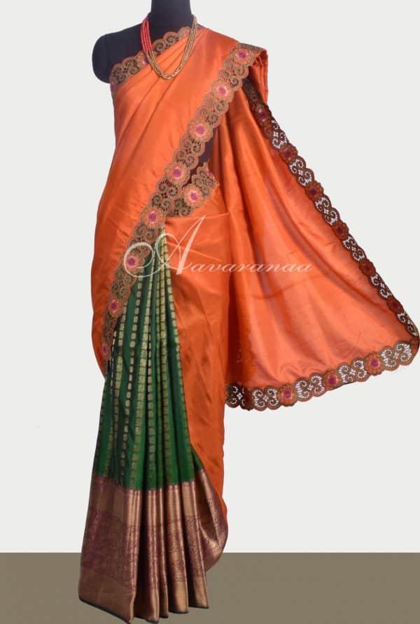 Burnt Orange and green kanchipuram silk saree with cutwork -0