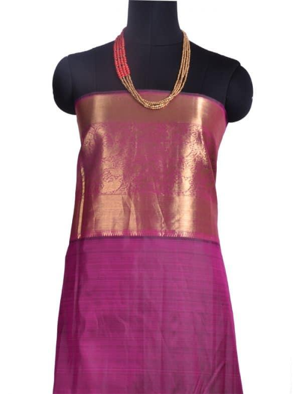 Pink and orange kanchipuram silk saree with cutwork -10058