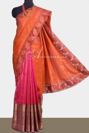 Pink and orange kanchipuram silk saree with cutwork -0