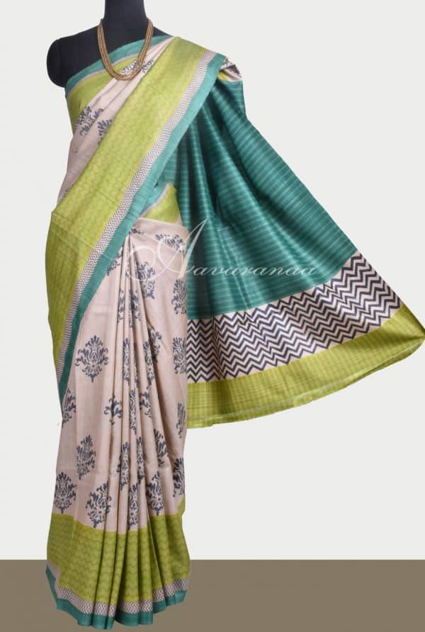 Off white block printed tussar saree with green border-0