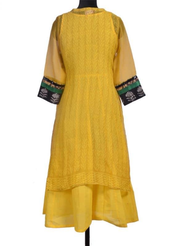 Yellow printed kota layered kurta-10226