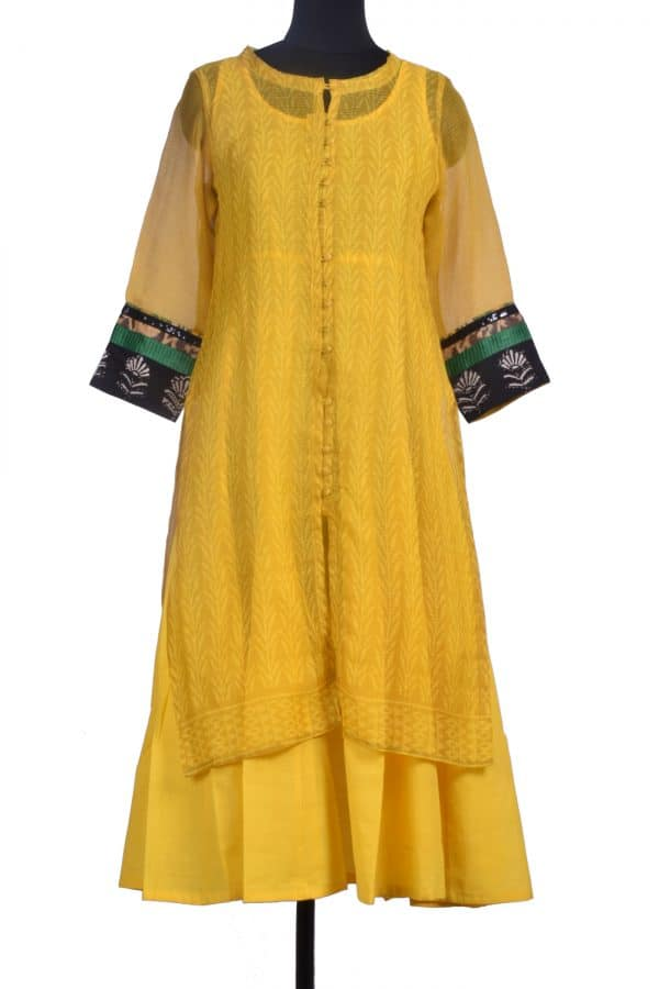 Yellow printed kota layered kurta-0