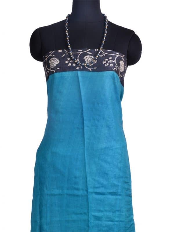 Blue and black block printed tussar saree-10082
