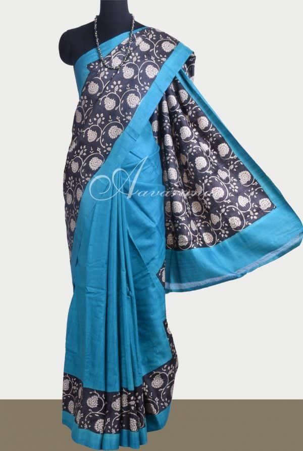 Blue and black block printed tussar saree-0