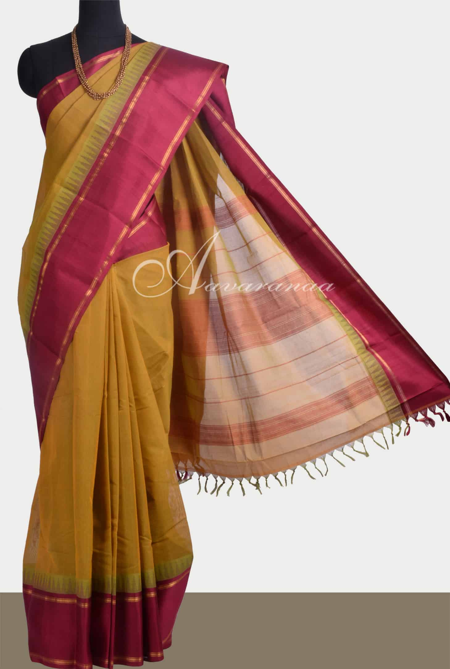 3bfb3c2c70 Saree Mustard Kanchi cotton saree with silk border Sale Online Shopping