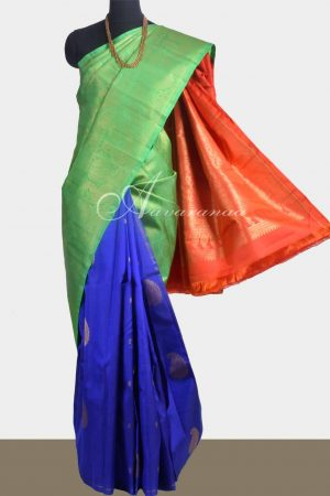 Tri colour partly pallu kanchipuram silk saree-0