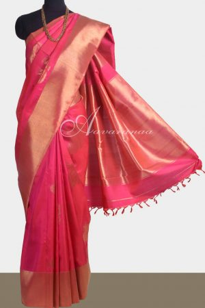Pink bhavanji border kanchipuram silk saree -0