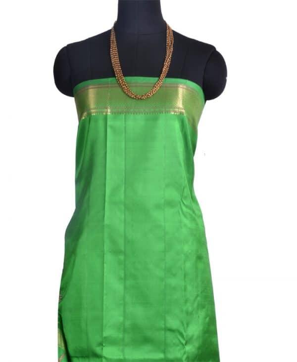 Green kanchipuram silk sari -10135