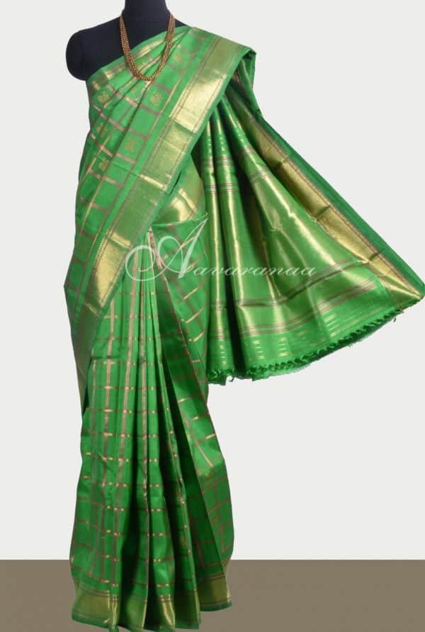 Green kanchipuram silk sari -0