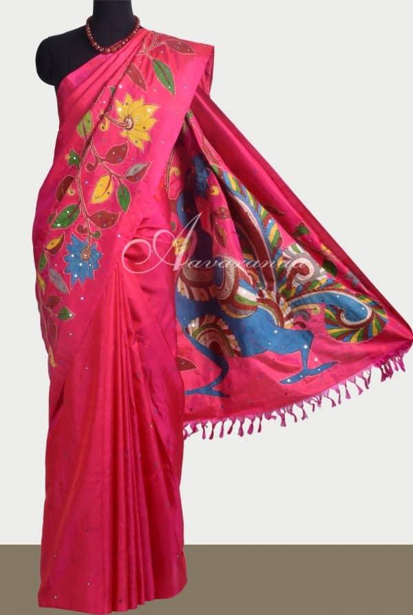 Pink kanchipuram silk saree with kalamkari applique -0
