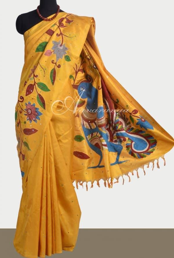 Yellow kanchipuram silk saree with kalamkari applique-0