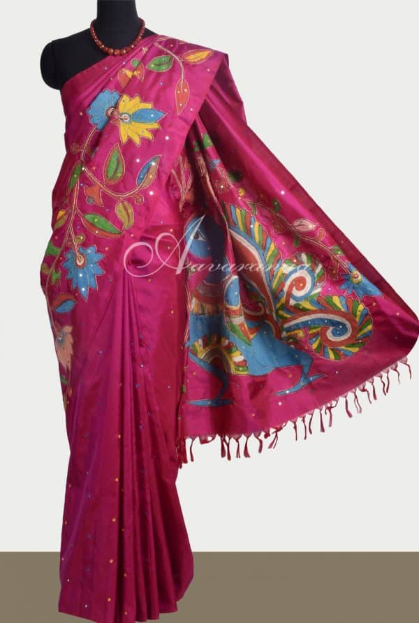 Dark Pink kanchipuram silk saree with kalamkari applique -0