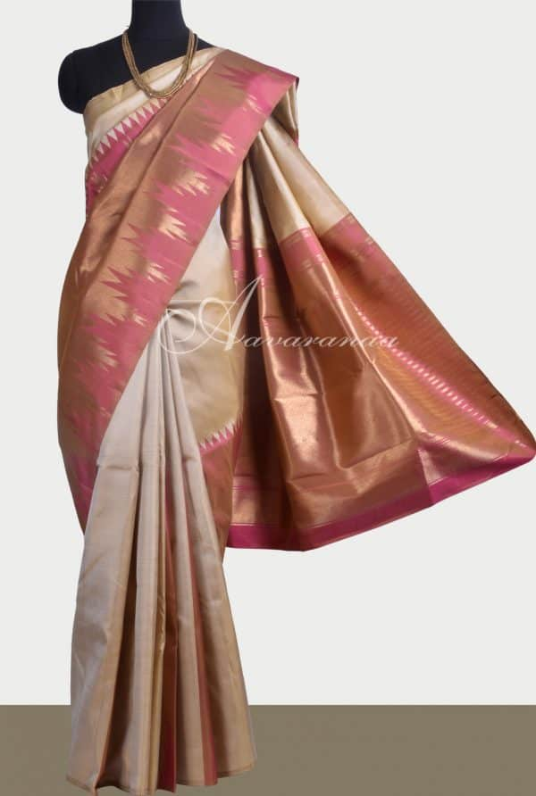 Beige kanchipuram silk saree with temple designs-0