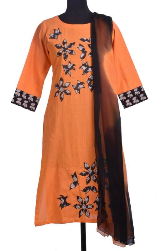 Orange cotton applique suit-0