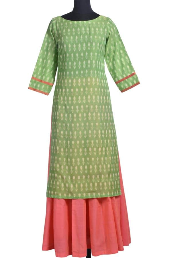 Green ikat kurta with skirt-0