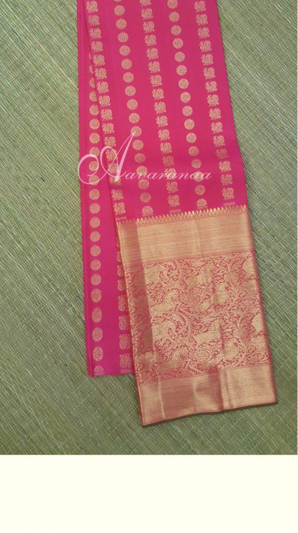 Hot pink kanchi silk blouse with long border and zari buttis-0