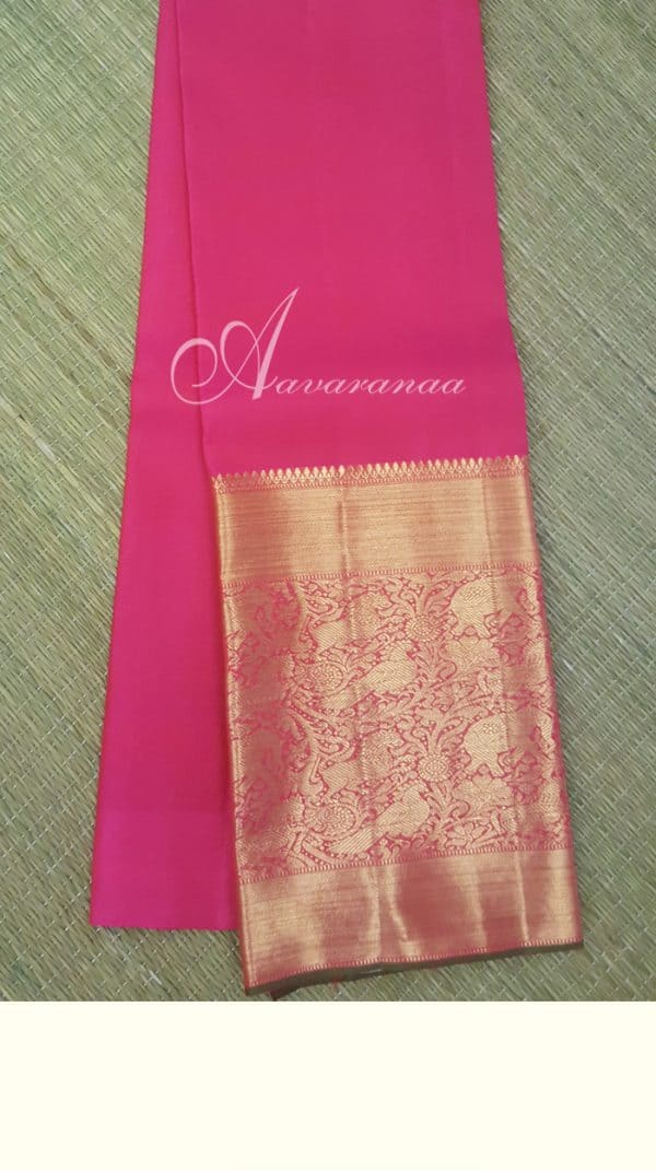 Hot pink kanchi silk blouse with long border-0