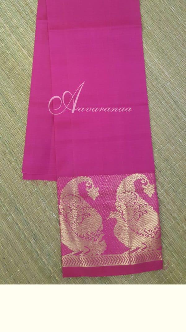 Pink kanchi silk blouse with mango border-0