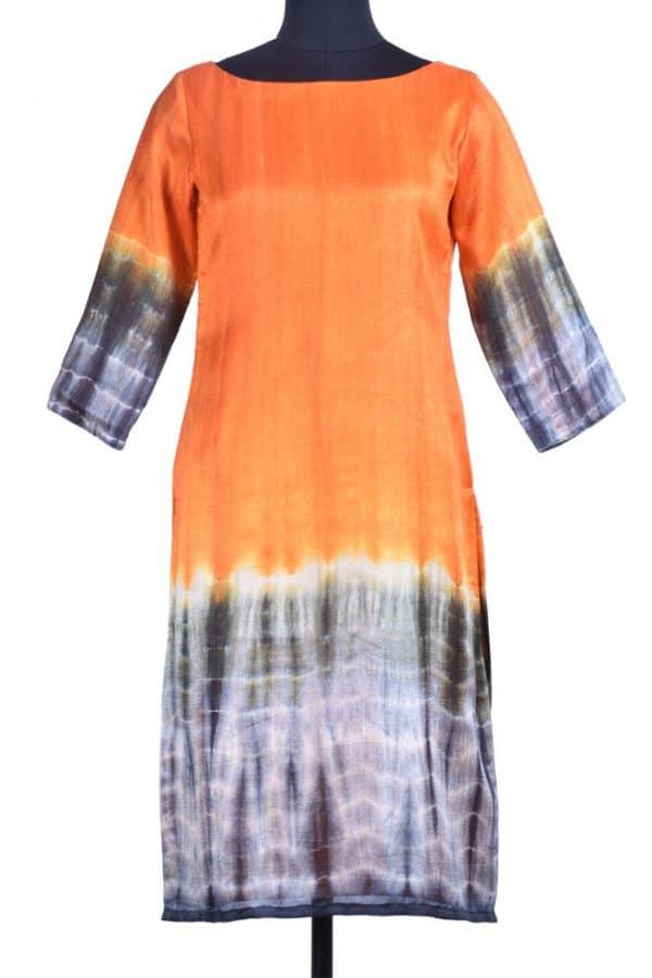 Orange silk kurta-0