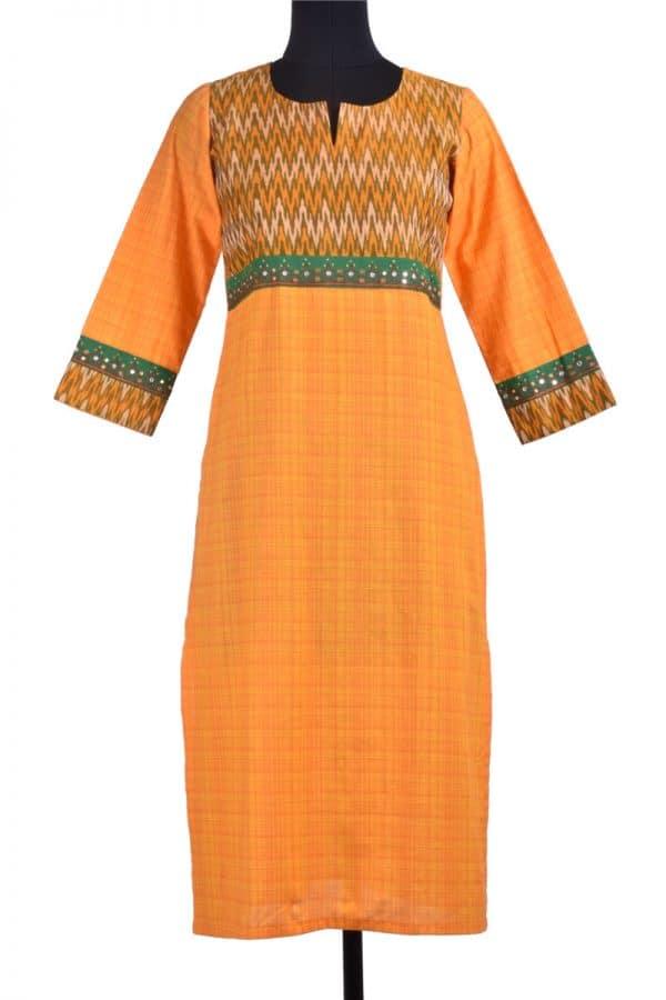 Orange checks kurta-0