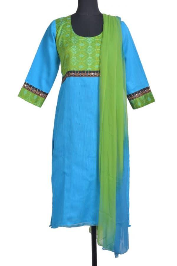 Blue chandheri set with ikat silk yoke-0