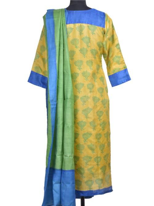 Leaf green tussar suit-10980