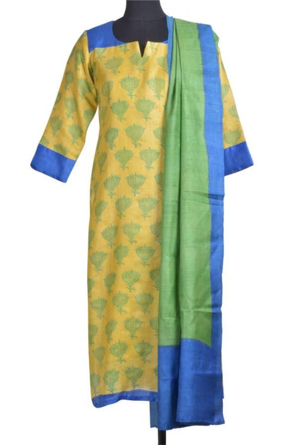 Leaf green tussar suit-0