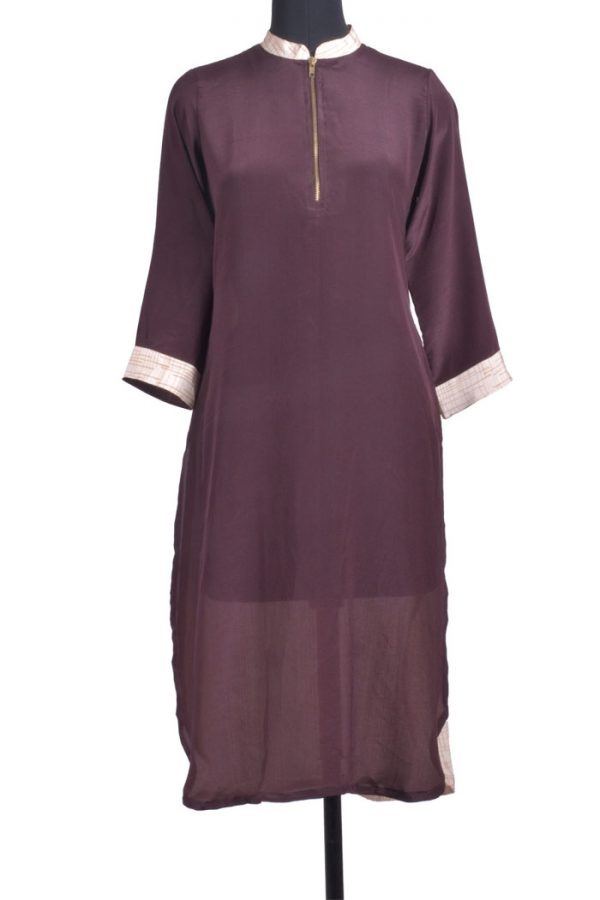 Brown crepe silk kurta-0